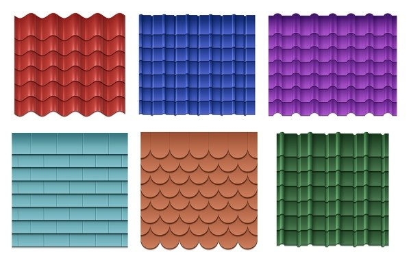 steel roofs in different colors and profiles