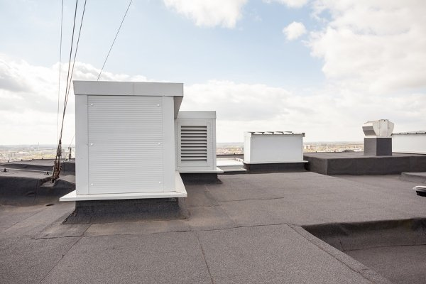 air conditioning system on flat roof