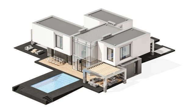3d picture of white house with grey flat roof