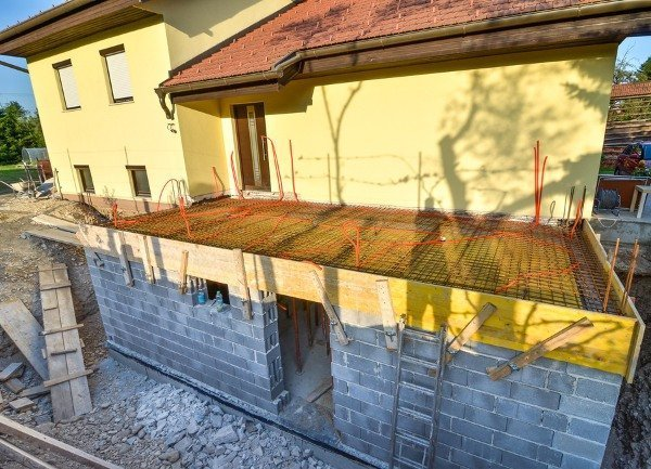 on going construction of home extension