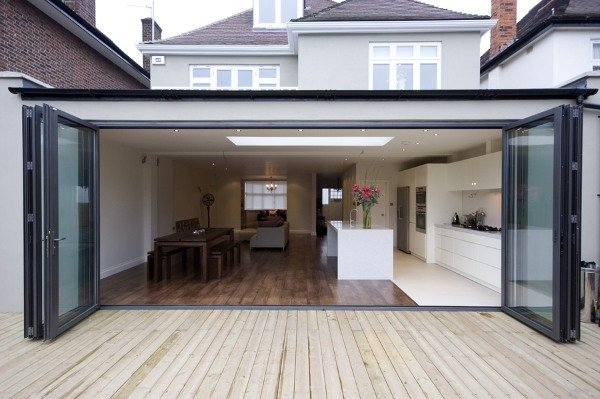 modern looking kitchen flat roof extension design of house