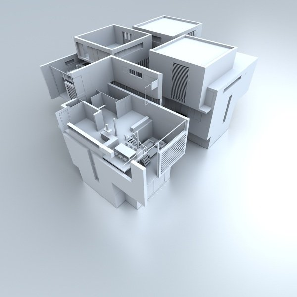3d design of white house with flat roof