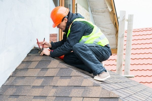 a roofing contractor carefully prying off asphalt shingles for inspection