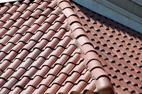 freshly installed clay tile roof